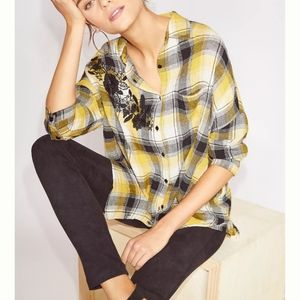 Anthropologie Embroidered Plaid Button Down
